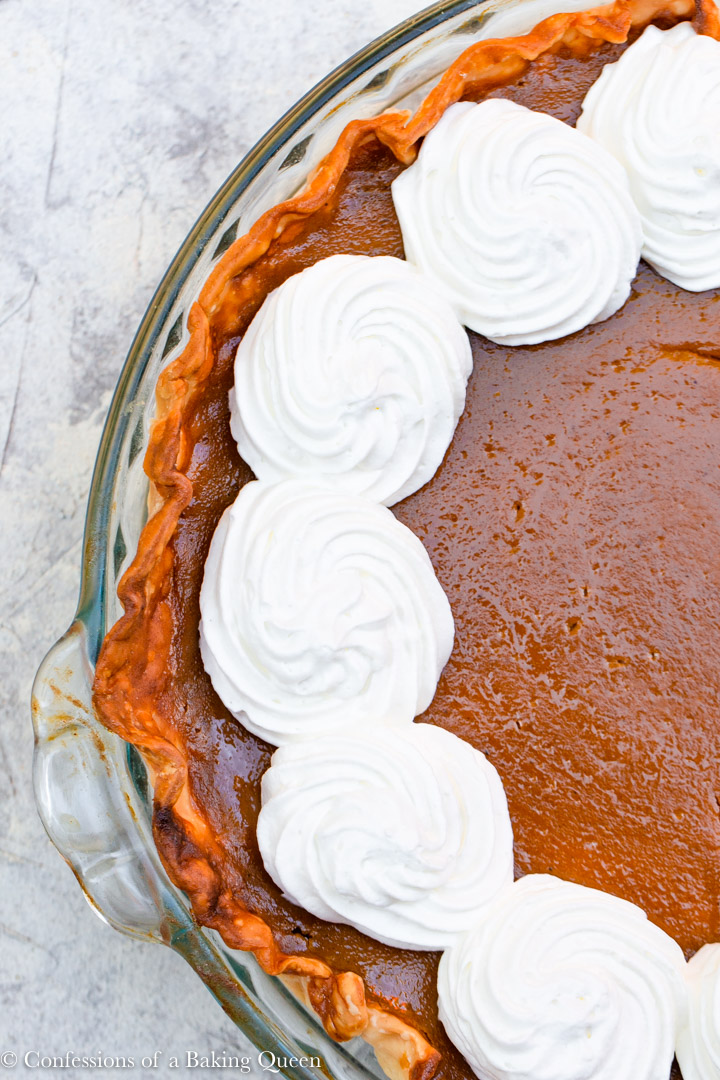 overhead shot of pumpkin pie with whipped cream