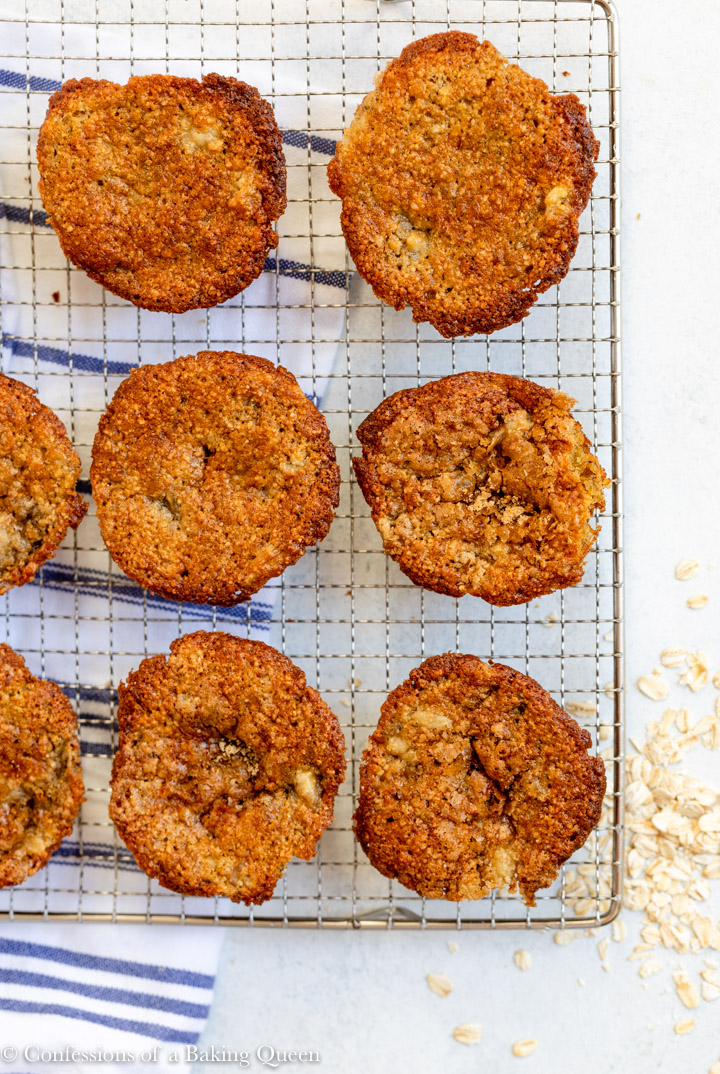 oat flour banana muffins cooling on a wire rack
