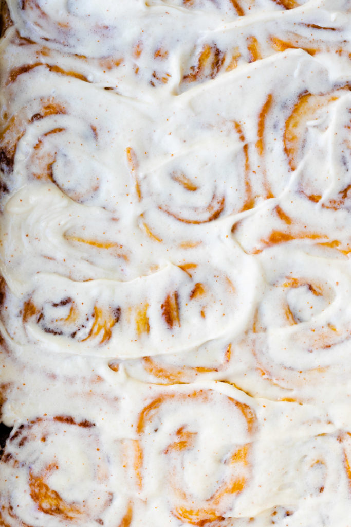 close up of brown butter cinnamon rolls