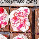 overhead shot of brownie chocolate cheesecake bars