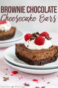 up close of brownie chocolate cheesecake bars