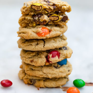 tall stack of peanut butter m&m cookies