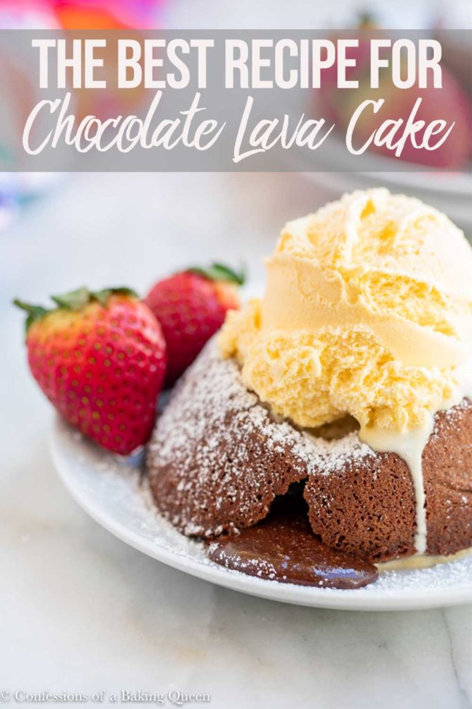 chocolate lave cake served on a white plate with french vanilla ice cream