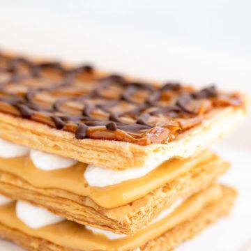Dulce de Leche Millie Feuille on a white plate