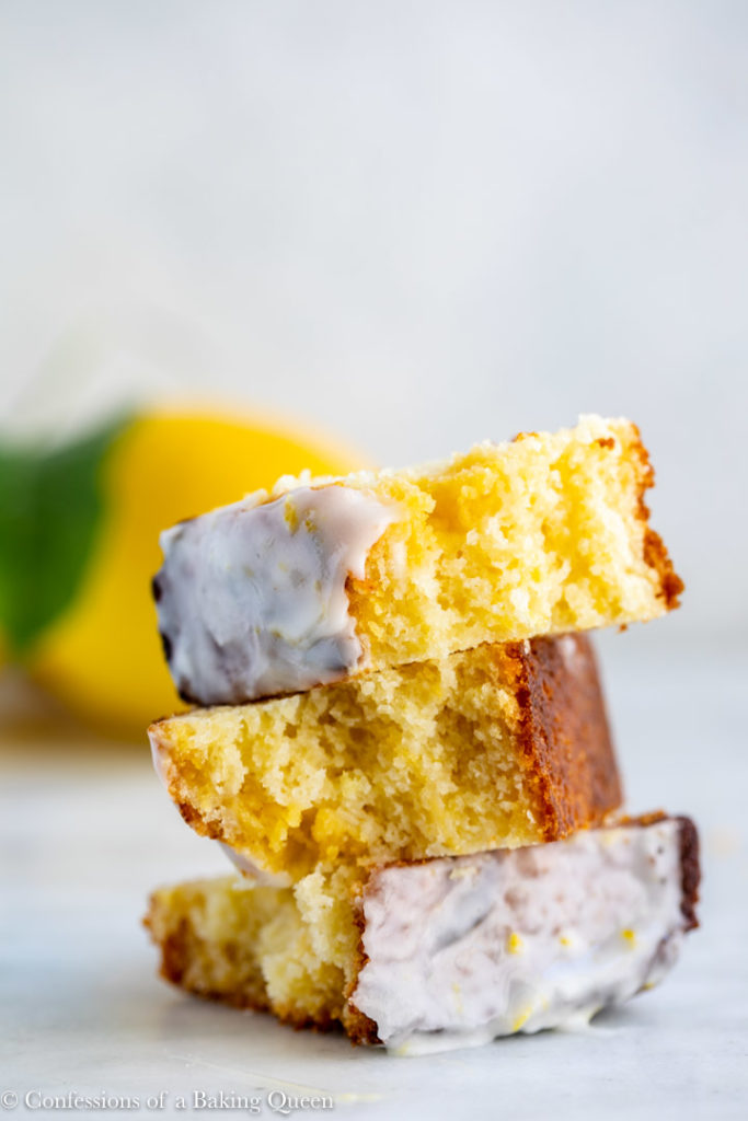 lemon curd lemon loaf cake pieces on top of each other