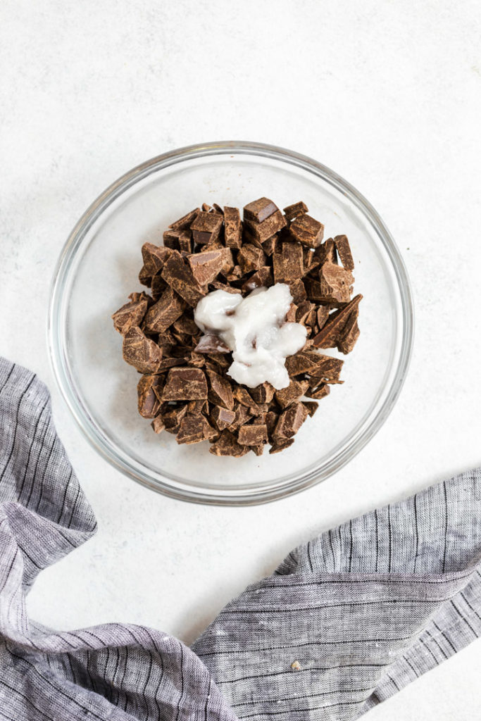 chocolate chunks and coconut oil in a small glass bowl