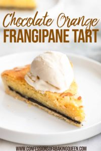 slice of Orange Chocolate Frangipane Tart with ice cream on a plate
