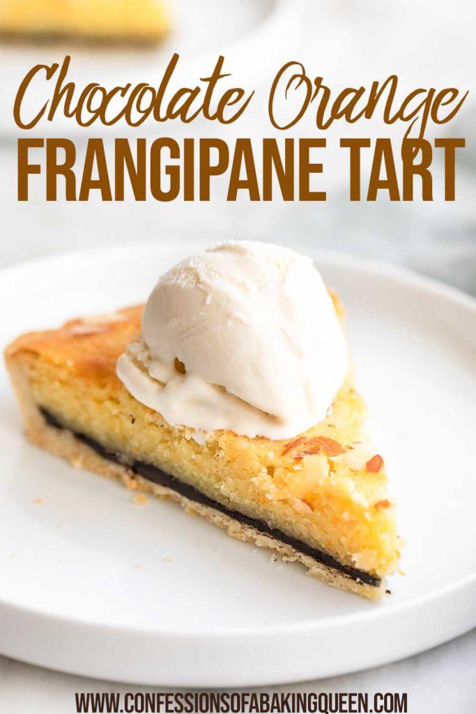 slice of Orange Chocolate Frangipane Tart with ice cream on a plate