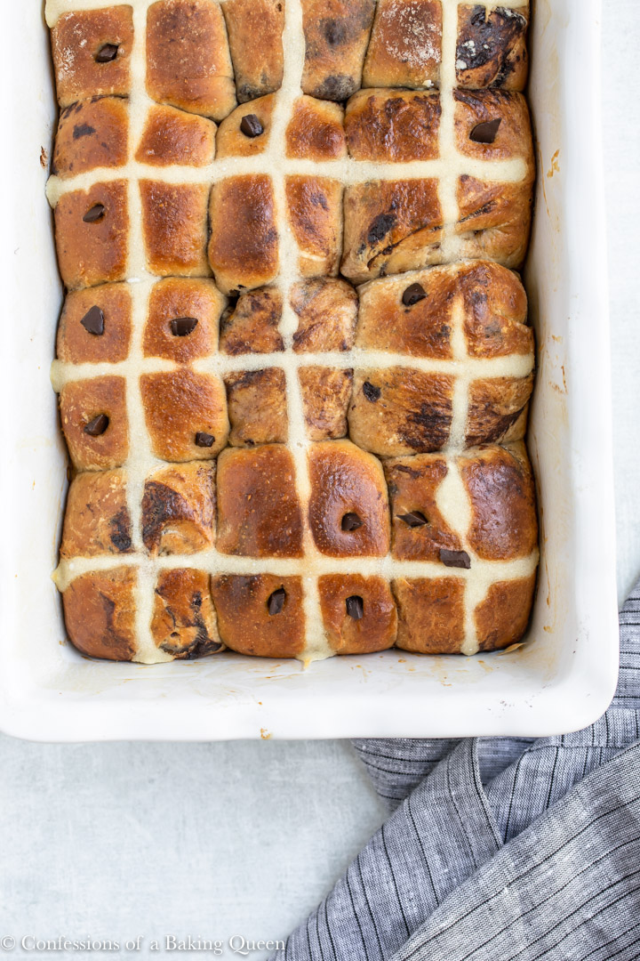 overhead view of chocolate hot cross buns