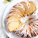 7Up pound cake sliced on a round white platter