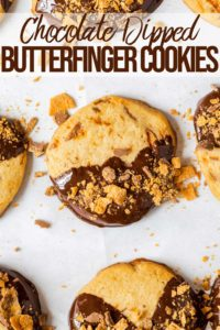 close up of chocolate dipped Butterfinger Cookies