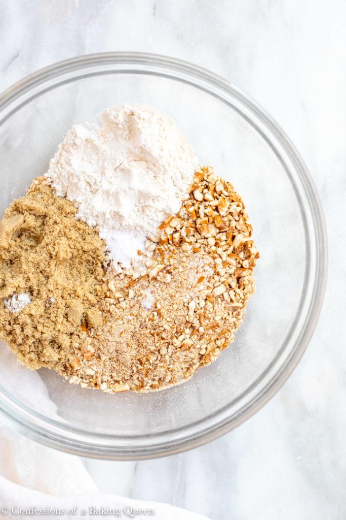 pretzel crust ingredients in a glass bowl