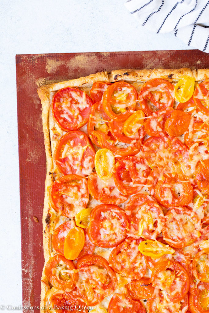 tomato tart just baked on a silpat liner