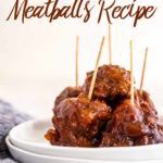 crockpot bbq meatballs with toothpicks sticking out on a white plate