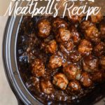 crockpot bbq meatballs in a black slow cooker dish