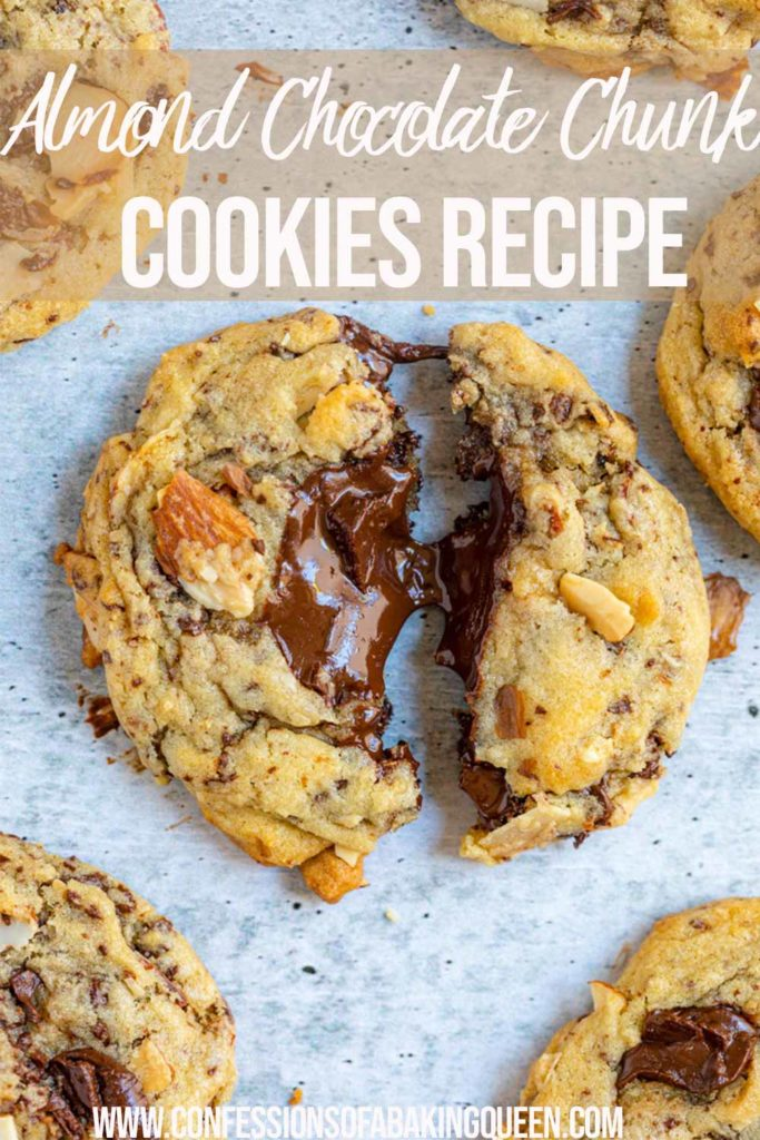 almond chocolate chip cookie broken in half with chocolate oozing out