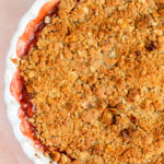 rhubarb crisp just baked to golden perfection