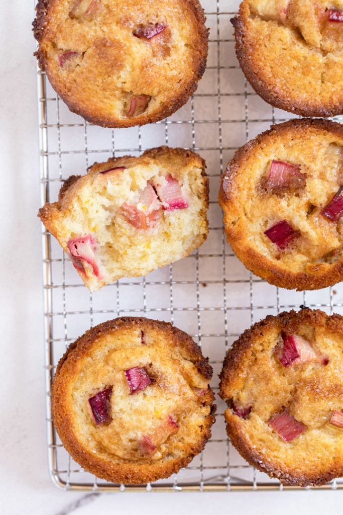 rhubarb muffins cooling on a wire rack