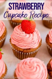 strawberry cupcakes lined up together