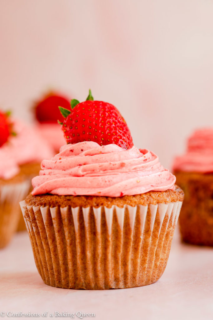 head on of a strawberry cupcake