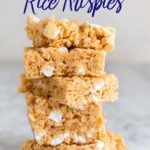 close up stack of peanut butter rice krispies