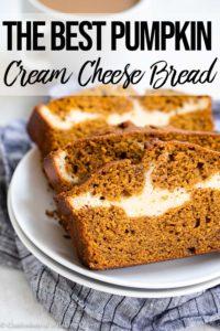pumpkin cream cheese bread slices on a white plate