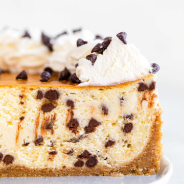 up close of the inside of chocolate chip cheesecake