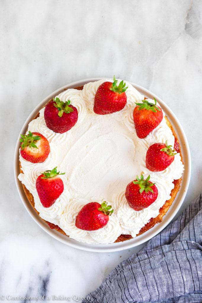 overhead shot of a strawberry poke cake