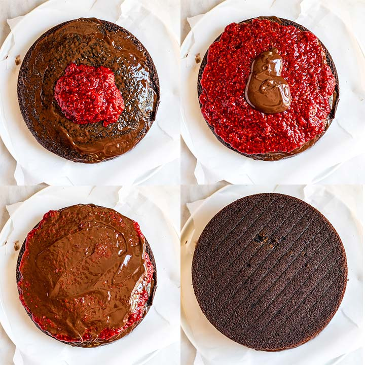 step by step photos on how to layer a raspberry chocolate cake