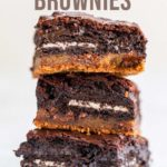 stack of slutty brownies on a white surface