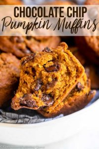 pumpkin chocolate chip muffins in a linen lined bowl