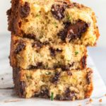 close up of a stack of chocolate chip zucchini bread slices
