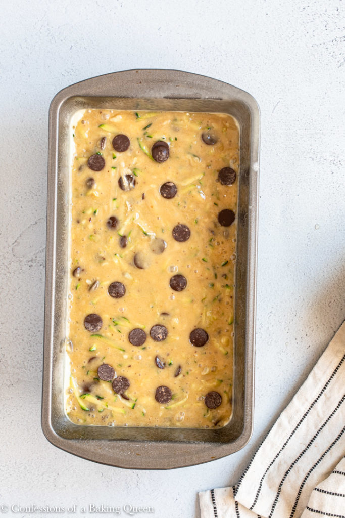 chocolate chip zucchini bread batter in a loaf pan before baking