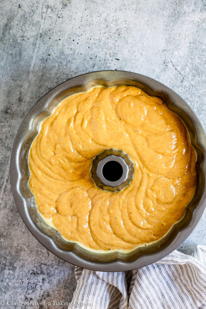 crack cake in bundt pan before baking