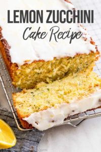 a slice of lemon zucchini cake falling off the loaf