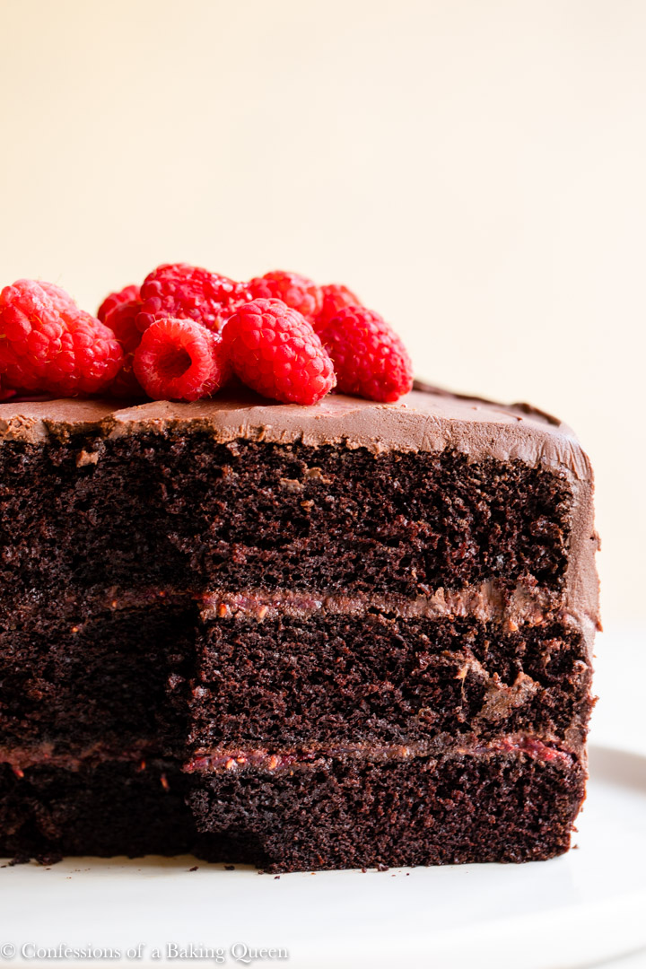 inside layers of a raspberry chocolate cake