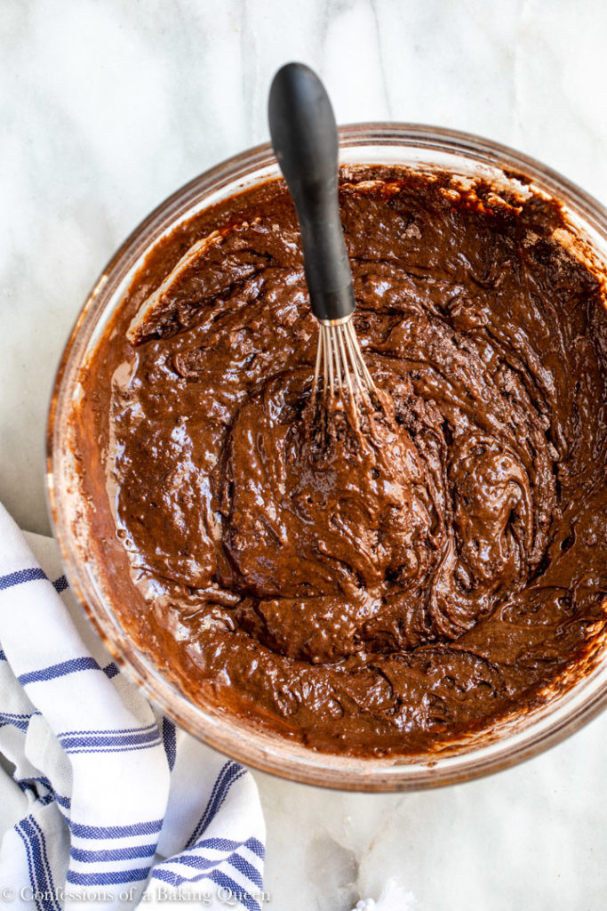 easy chocolate cake batter in a large glass bowl