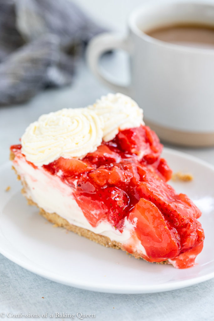 slice of strawberry cream cheese pie on a white plate