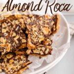 almond roca pieces in a large white bowl