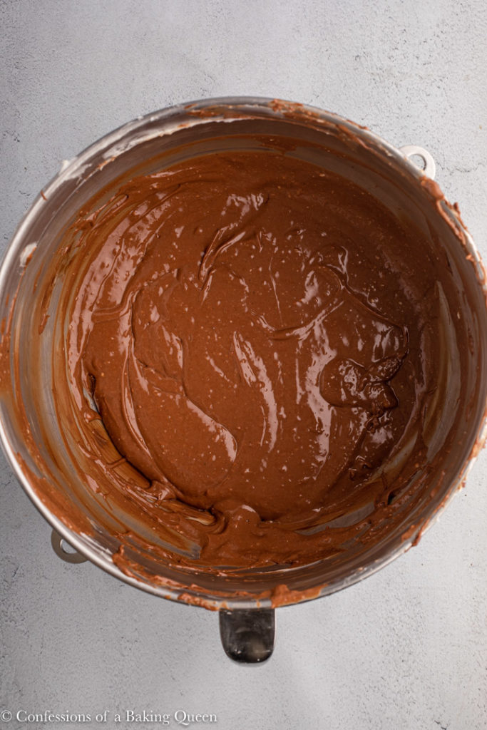 chocolate cheesecake batter in a large bowl