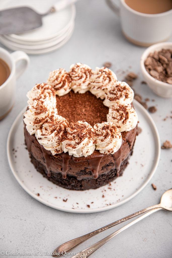 overhead view of chocolate cheesecake