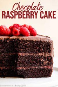 inside layers of a raspberry chocolate cake