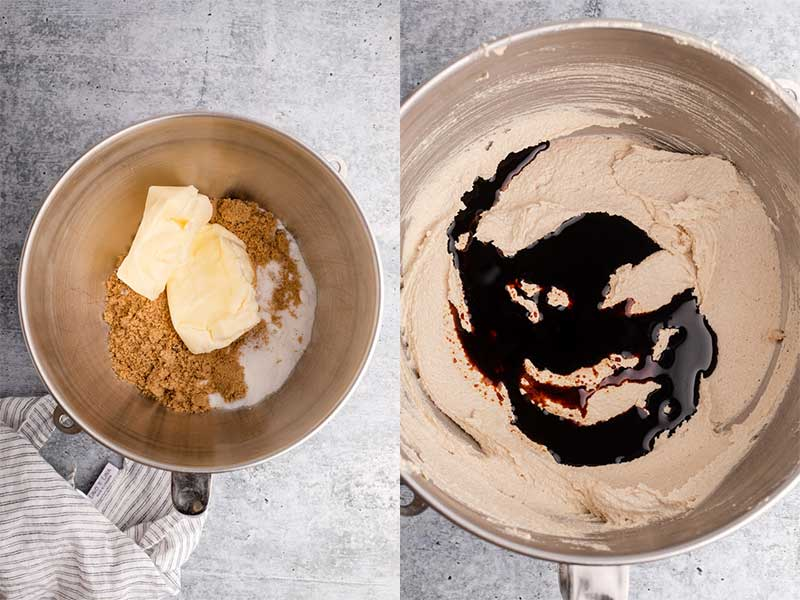 butter and sugars in a metal bowl creamed together with molasses