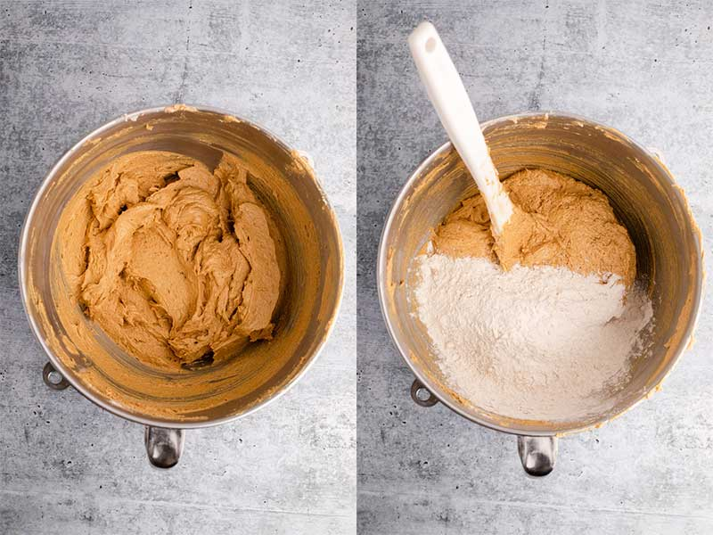 gingerbread cake batter in a metal bowl with flour added