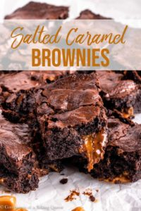salted caramel brownies on a piece of parchment paper