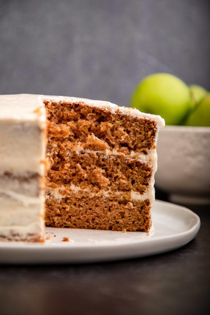 apple spice cake cut open on a mwhit