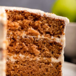 close up of the inside of an apple layer cake