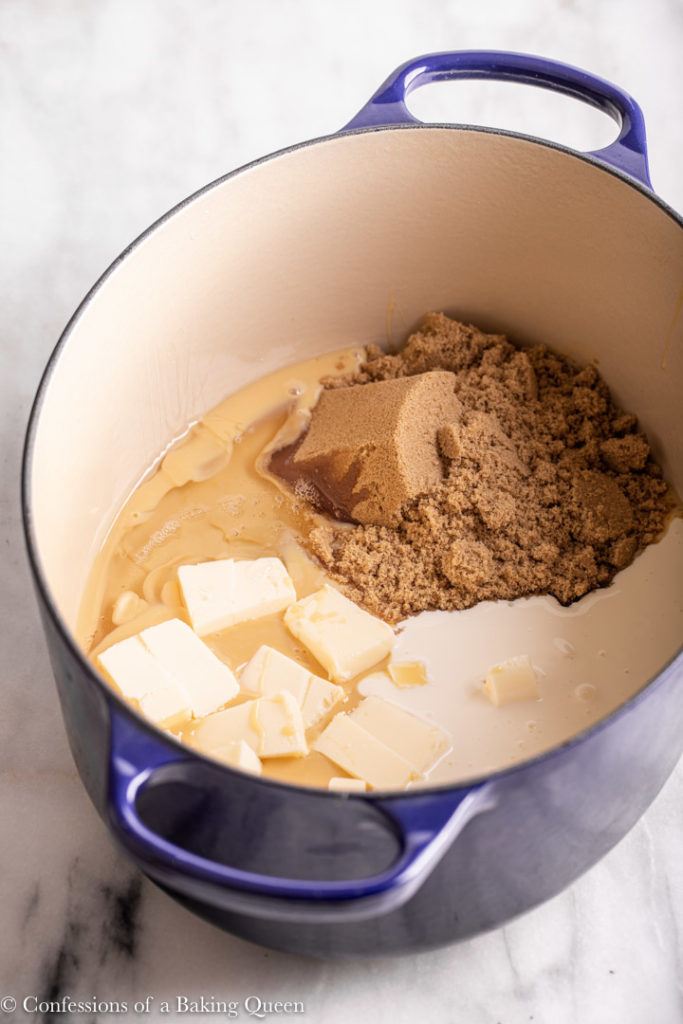 ingredients for chewy caramel in a large dutch oven