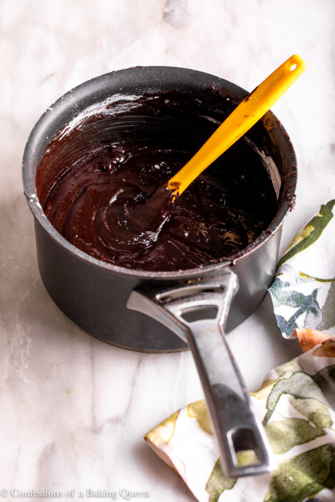 brownie batter in a metal pot