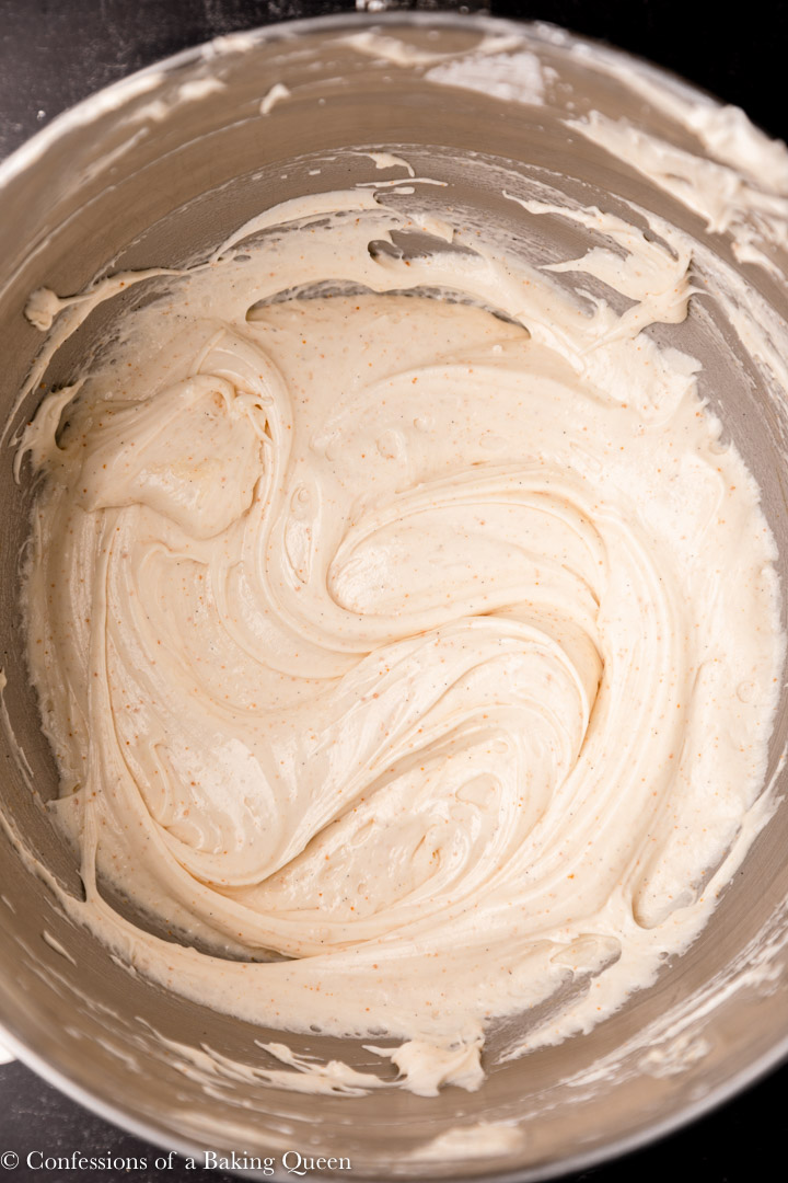 browned butter cream cheese frosting in a metal mixing bow